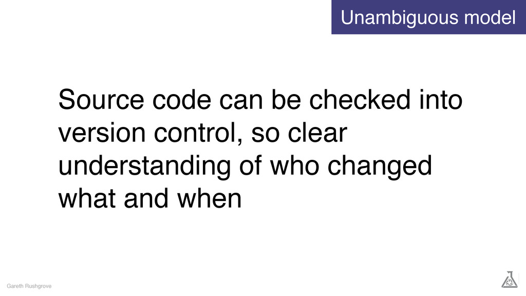 Source code can be checked into version control...