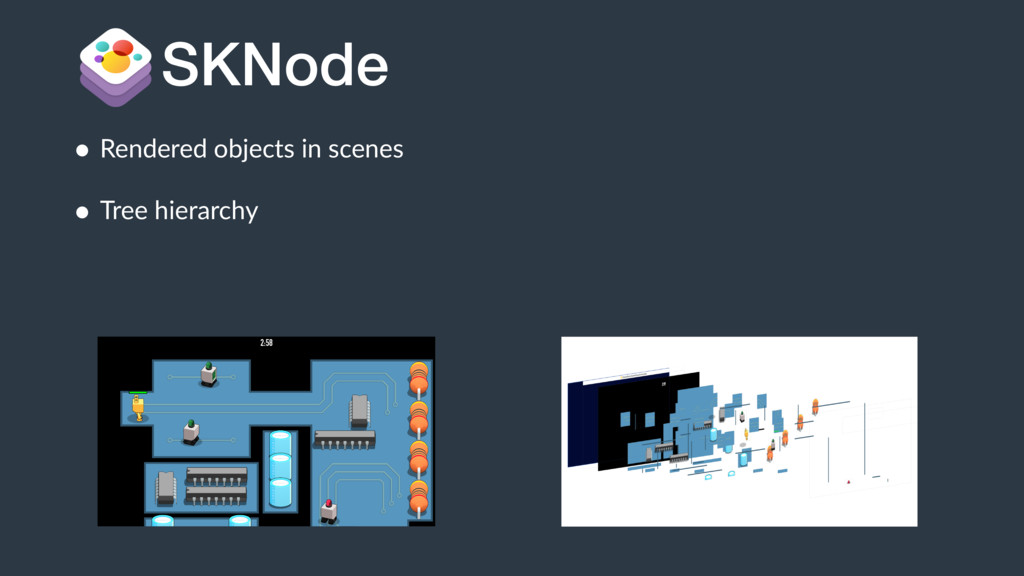 • Rendered objects in scenes • Tree hierarchy S...