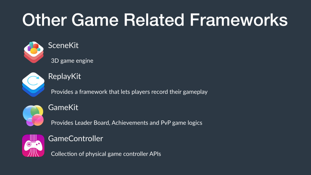 Other Game Related Frameworks SceneKit 3D game ...