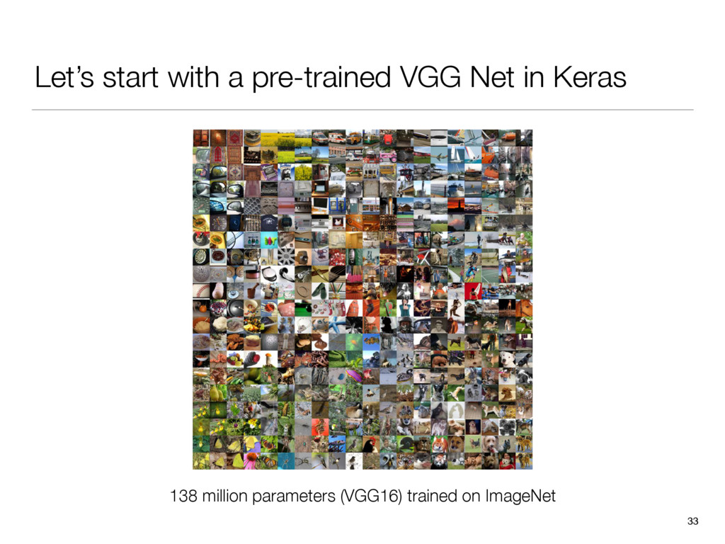 Let's start with a pre-trained VGG Net in Keras...