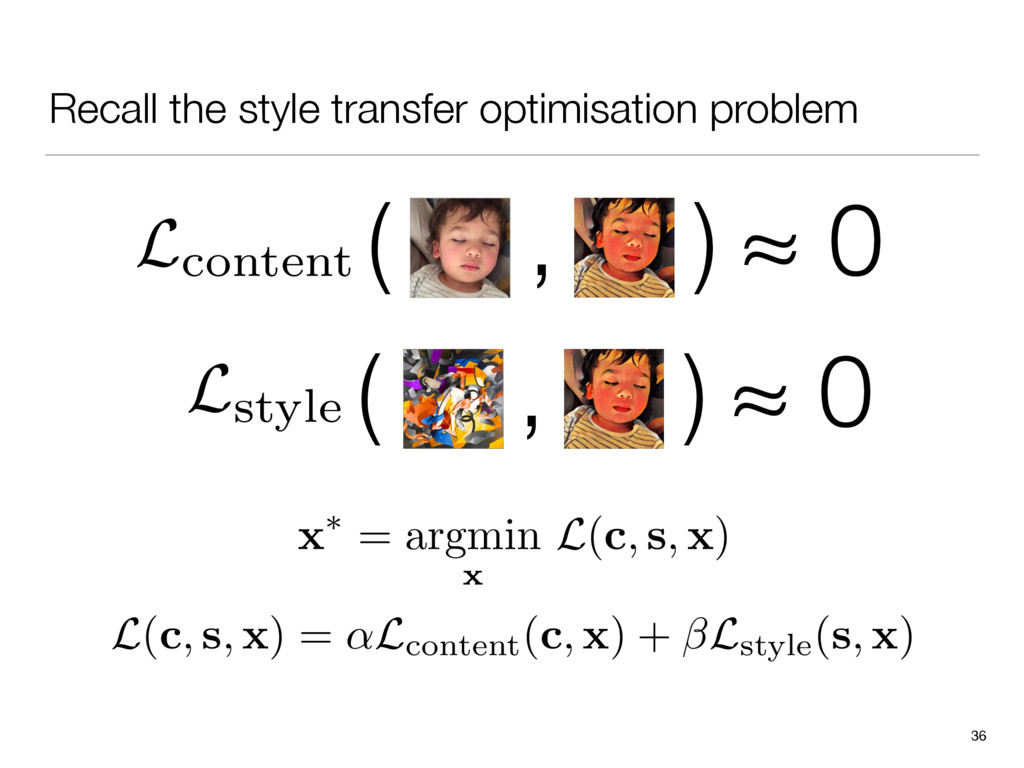 Recall the style transfer optimisation problem ...