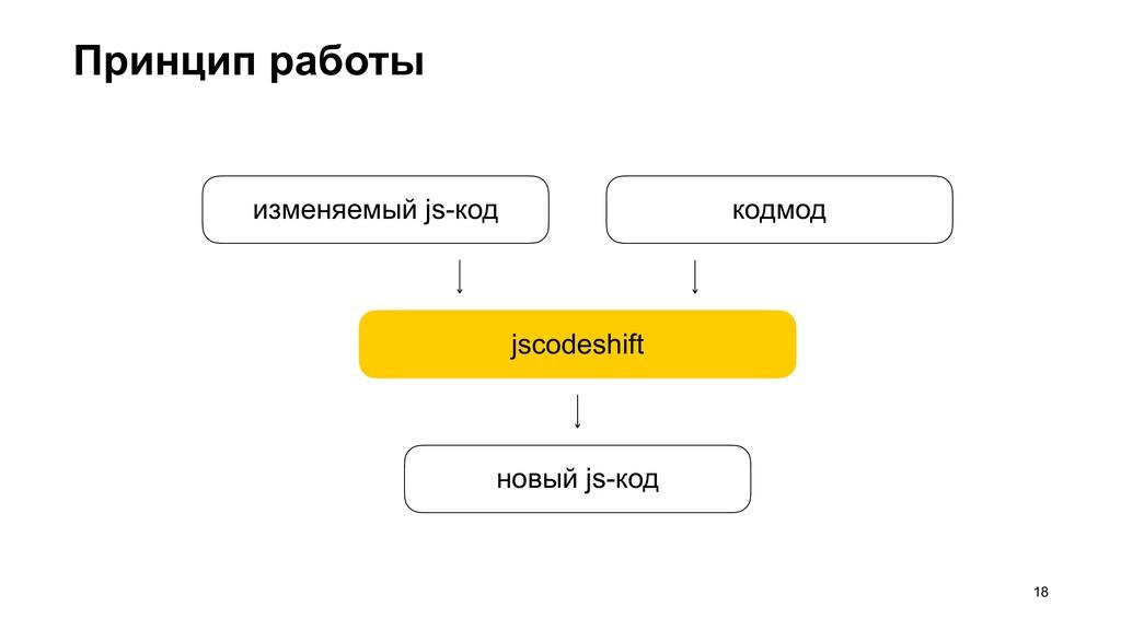Принцип работы >18 jscodeshift новый js-код изм...