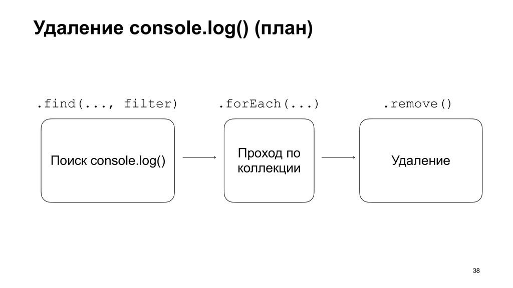 Удаление console.log() (план) >38 Поиск console...