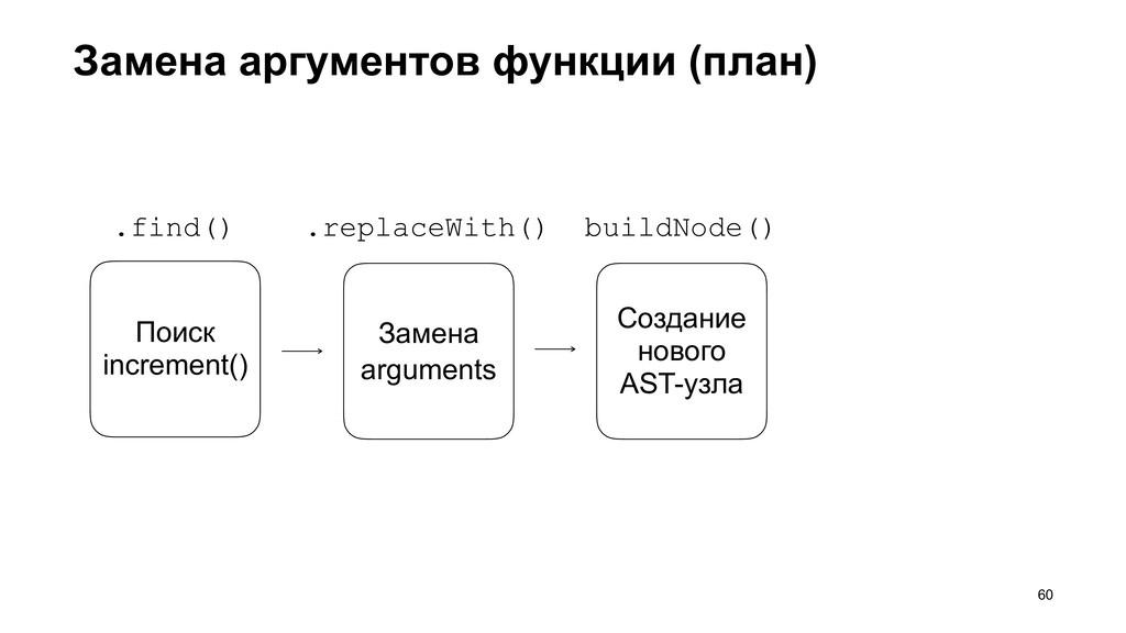 Замена аргументов функции (план) >60 Поиск incr...