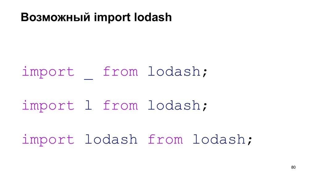 Возможный import lodash >80 import _ from lodas...