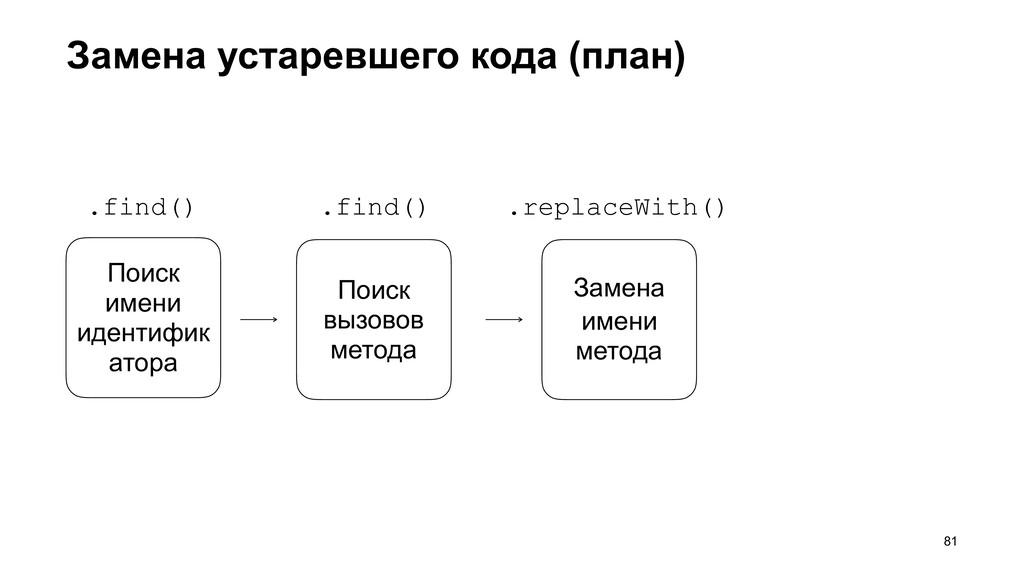 Замена устаревшего кода (план) >81 Поиск имени ...