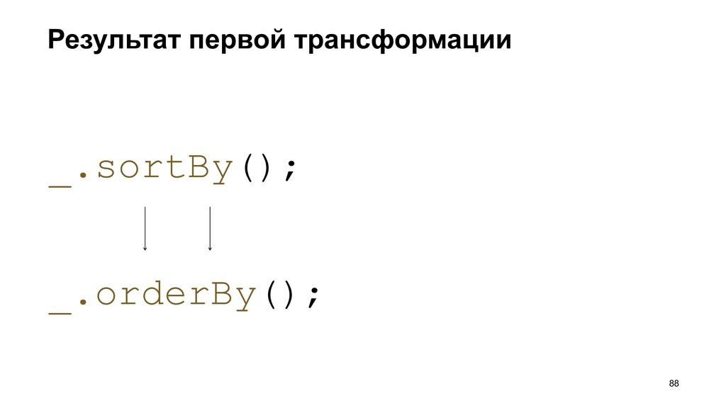 Результат первой трансформации >88 _.orderBy();...