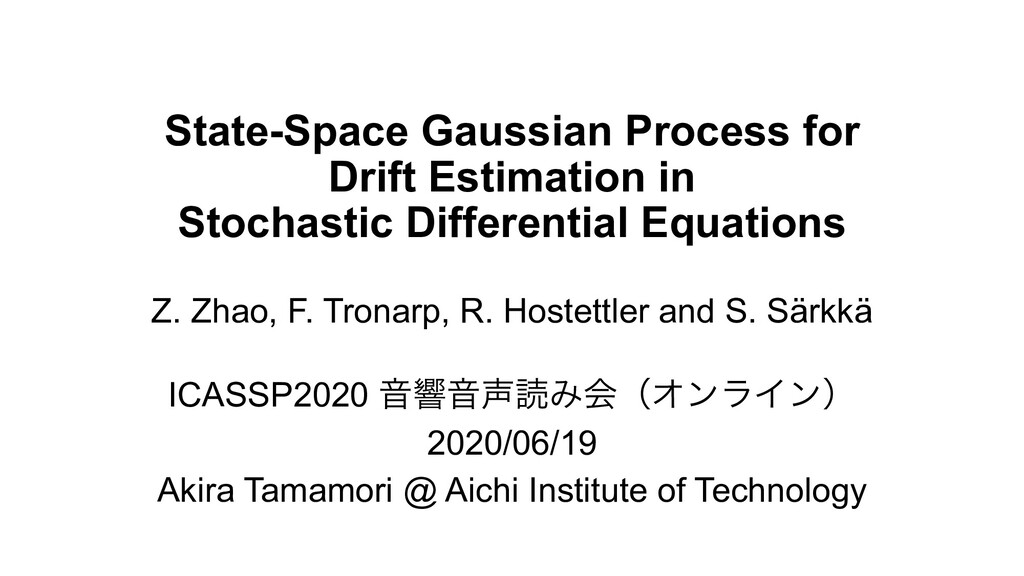 State-Space Gaussian Process for Drift Estimati...