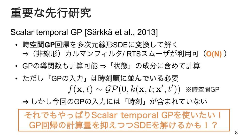 ॏཁͳઌߦݚڀ Scalar temporal GP [Särkkä et al., 2013...