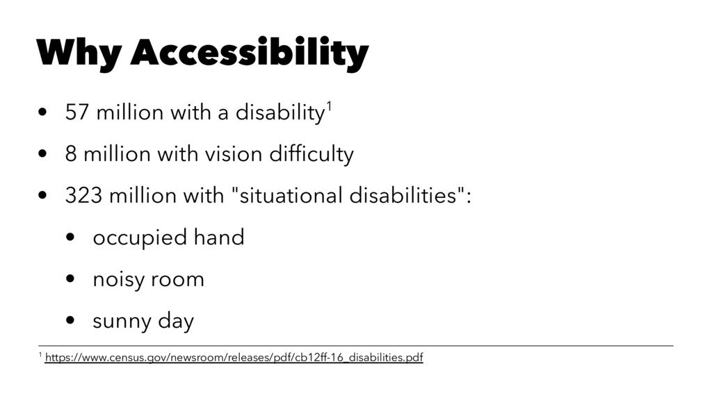 Why Accessibility • 57 million with a disabilit...