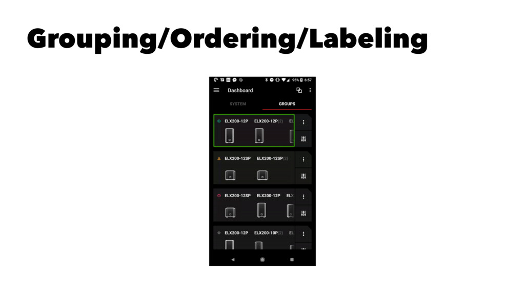 Grouping/Ordering/Labeling