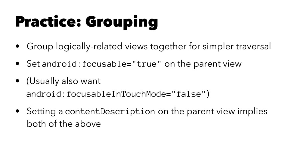 Practice: Grouping • Group logically-related vi...