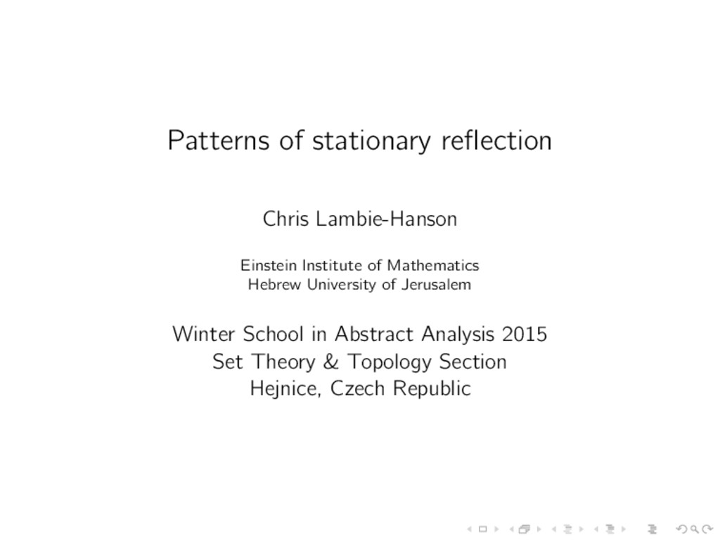 Patterns of stationary reflection Chris Lambie-H...