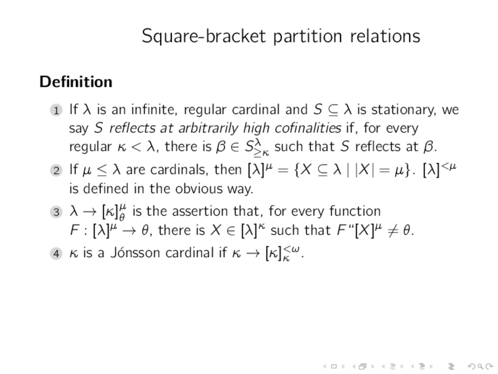 Square-bracket partition relations Definition 1 ...