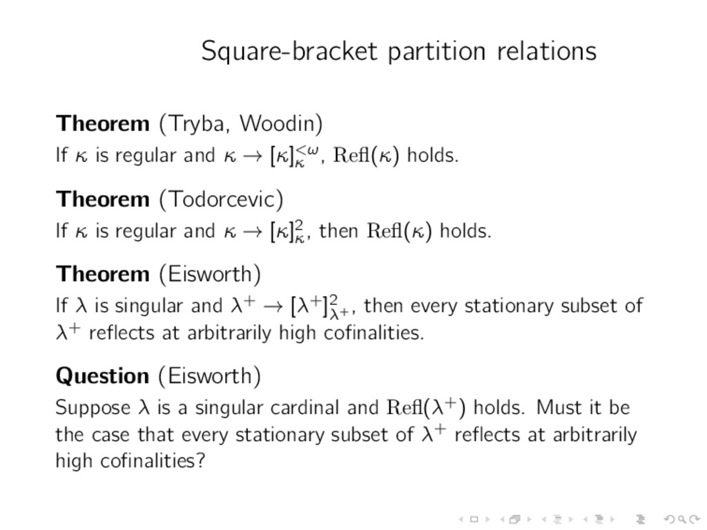 Square-bracket partition relations Theorem (Try...