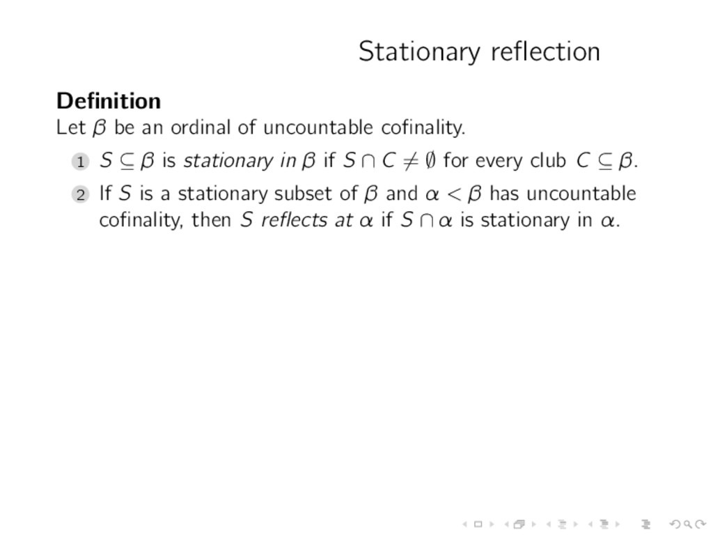 Stationary reflection Definition Let β be an ordi...