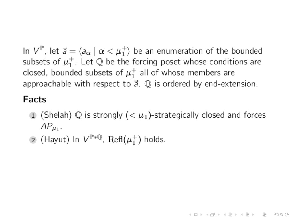 In V P, let a = aα   α < µ+ 1 be an enumeration...