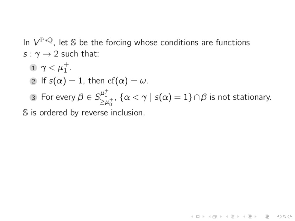 In V P∗Q, let S be the forcing whose conditions...