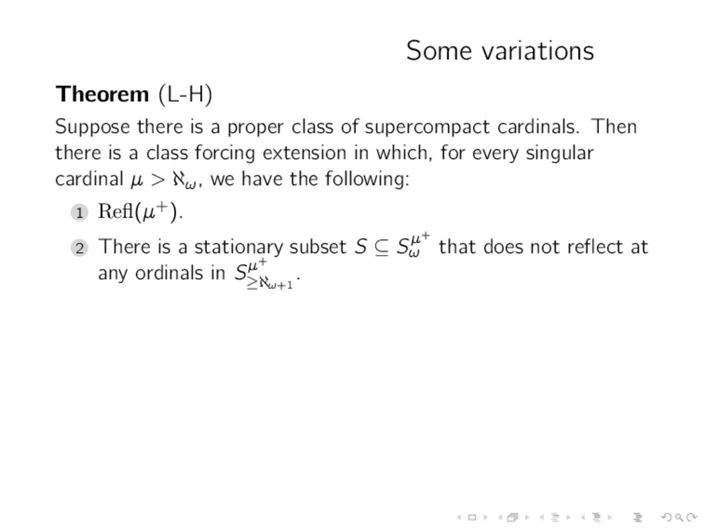 Some variations Theorem (L-H) Suppose there is ...