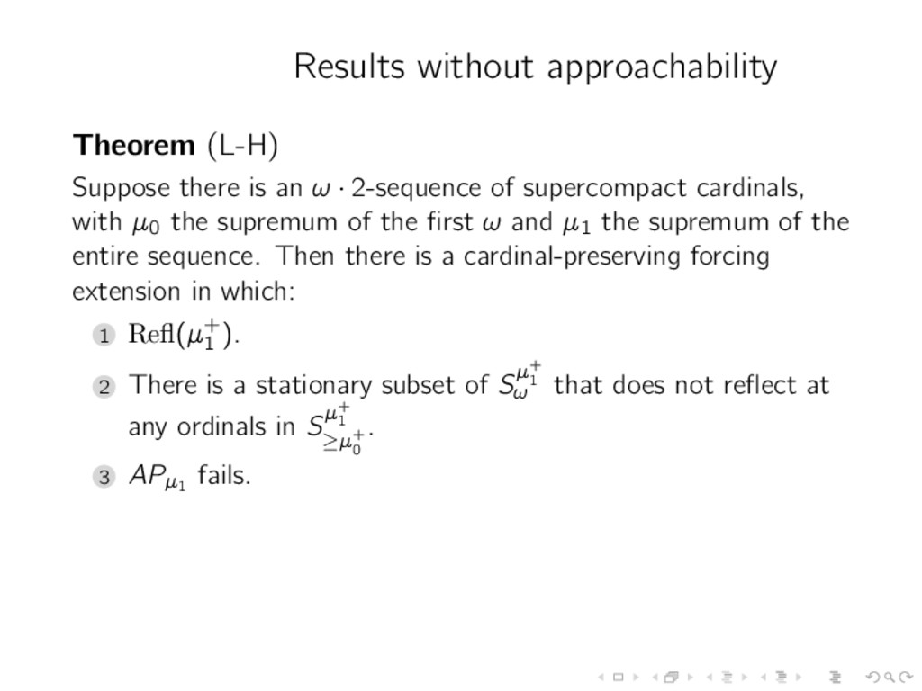 Results without approachability Theorem (L-H) S...