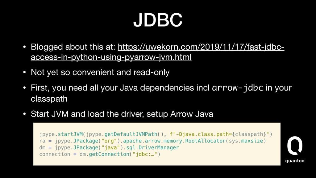 JDBC • Blogged about this at: https://uwekorn.c...
