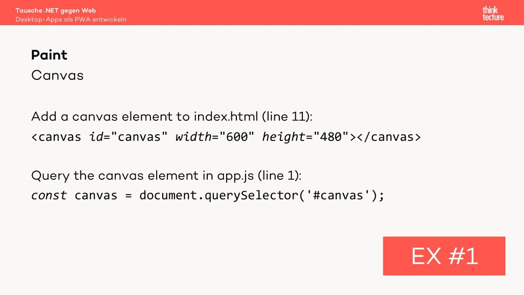 Canvas Add a canvas element to index.html (line...