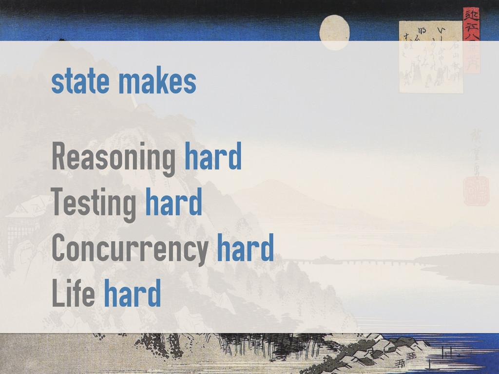 state makes ! Reasoning hard Testing hard Concu...