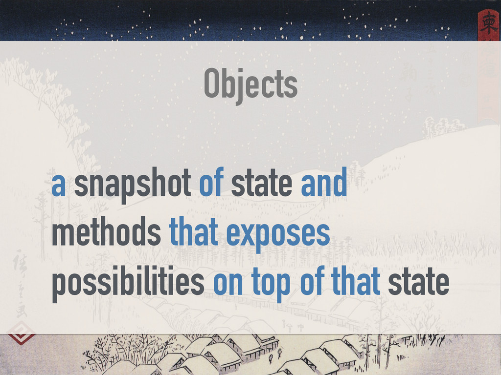 Objects a snapshot of state and methods that ex...