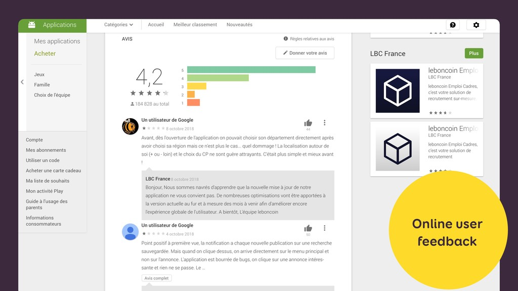 Online user feedback