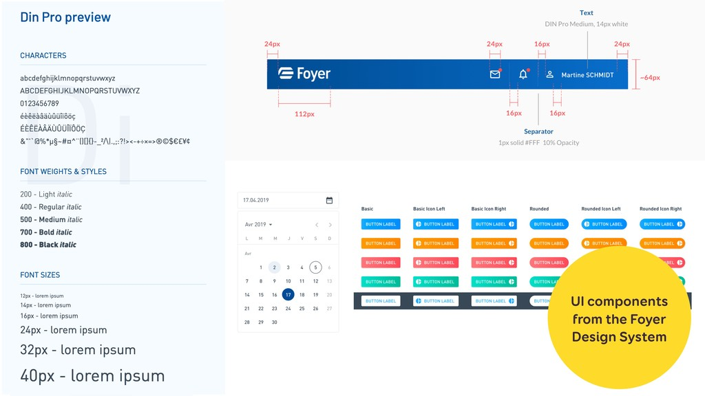 UI components  from the Foyer  Design System