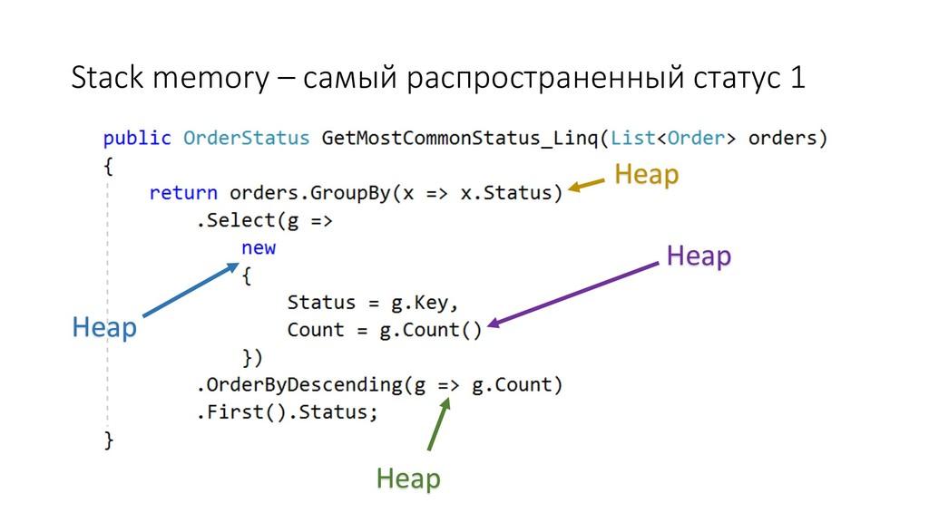 Stack memory – самый распространенный статус 1 ...