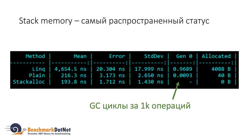 Stack memory – самый распространенный статус GC...