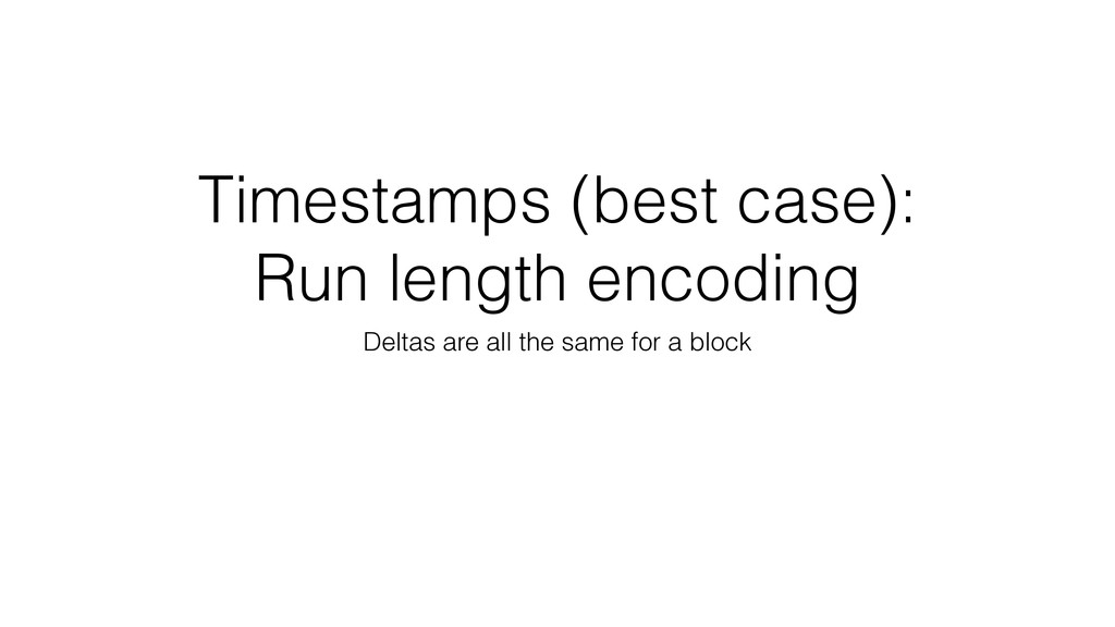 Timestamps (best case): Run length encoding Del...