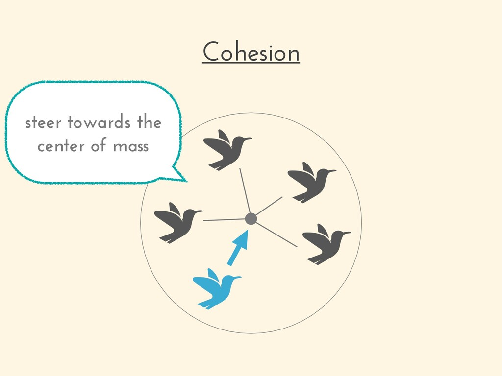 Cohesion steer towards the center of mass