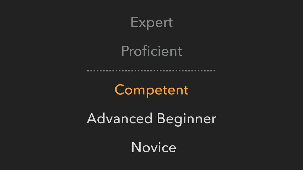 Expert Proficient Competent Advanced Beginner No...