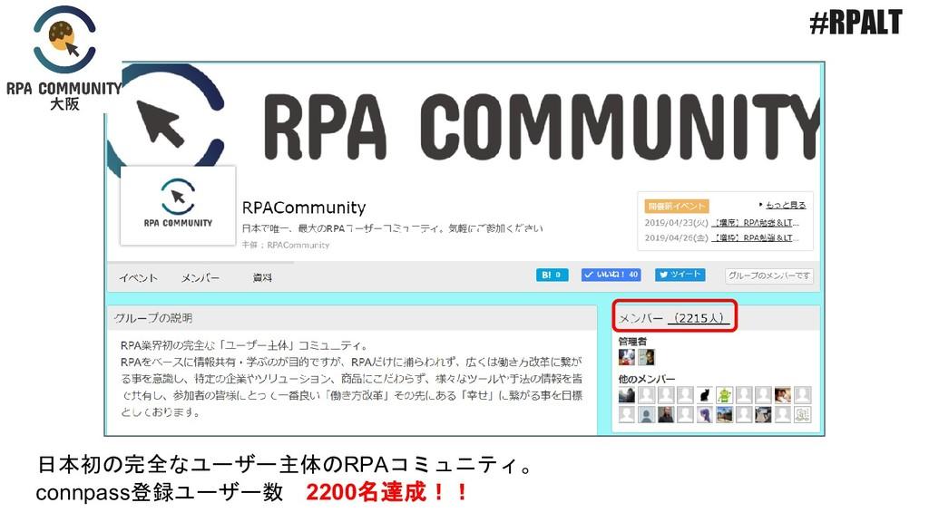 日本初の完全なユーザー主体のRPAコミュニティ。 connpass登録ユーザー数 2200名達...