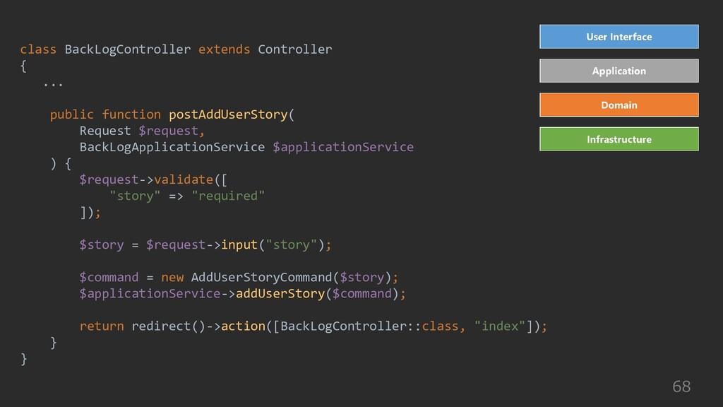 68 class BackLogController extends Controller {...