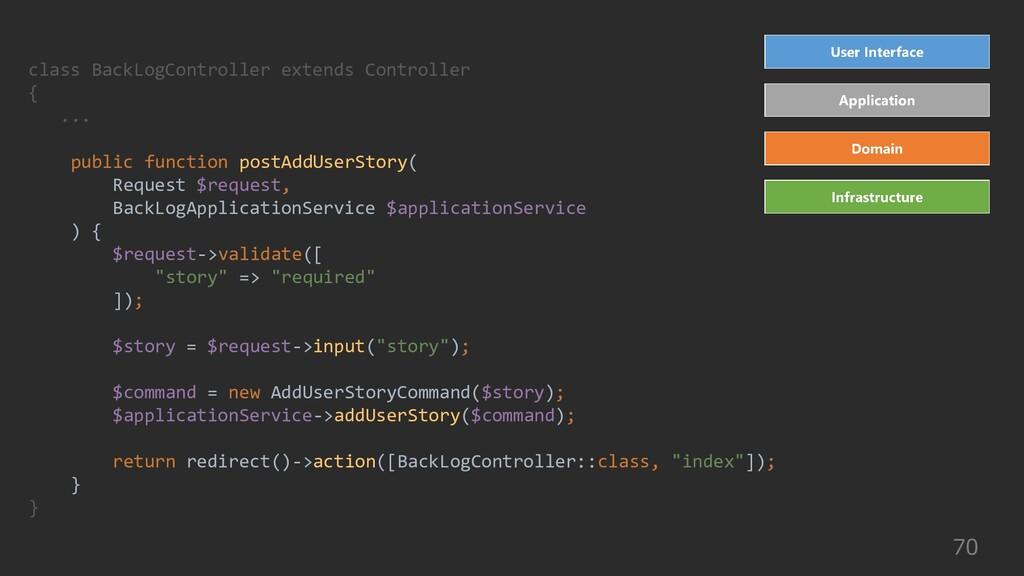 70 class BackLogController extends Controller {...