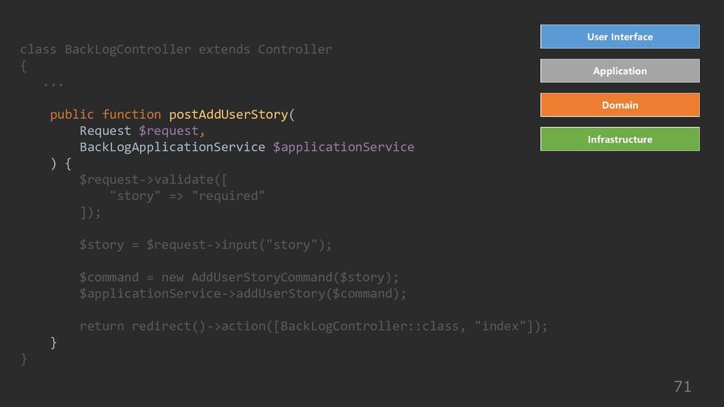 71 class BackLogController extends Controller {...