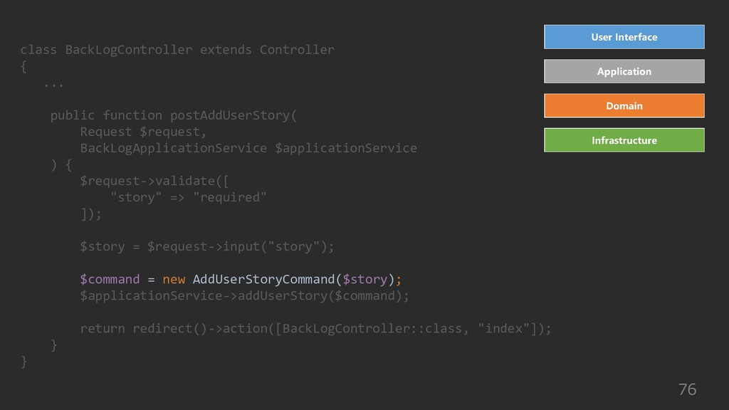 76 class BackLogController extends Controller {...