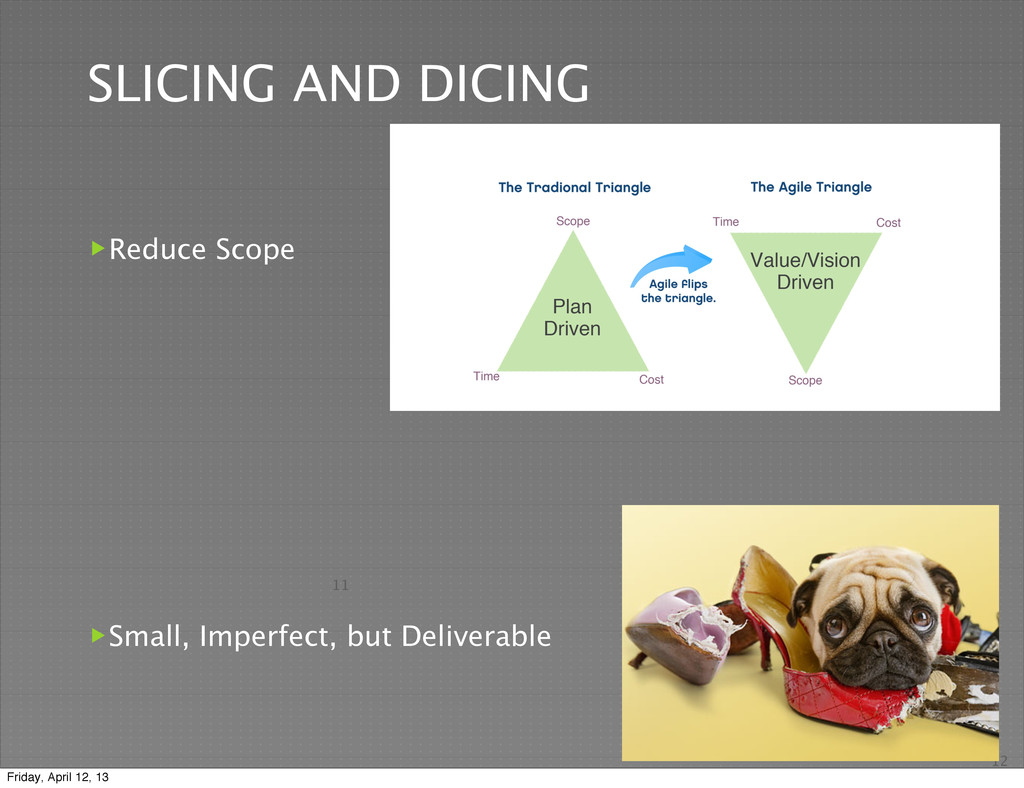 11 SLICING AND DICING Reduce Scope Small, Imp...