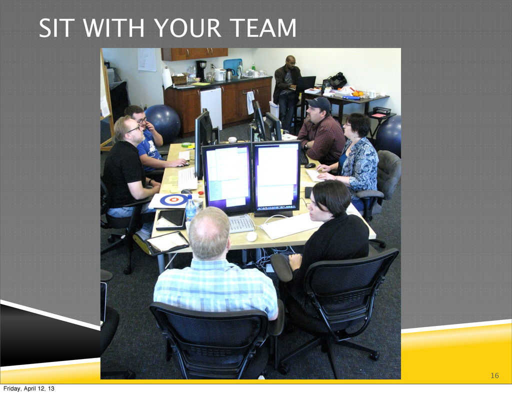 16 SIT WITH YOUR TEAM Friday, April 12, 13