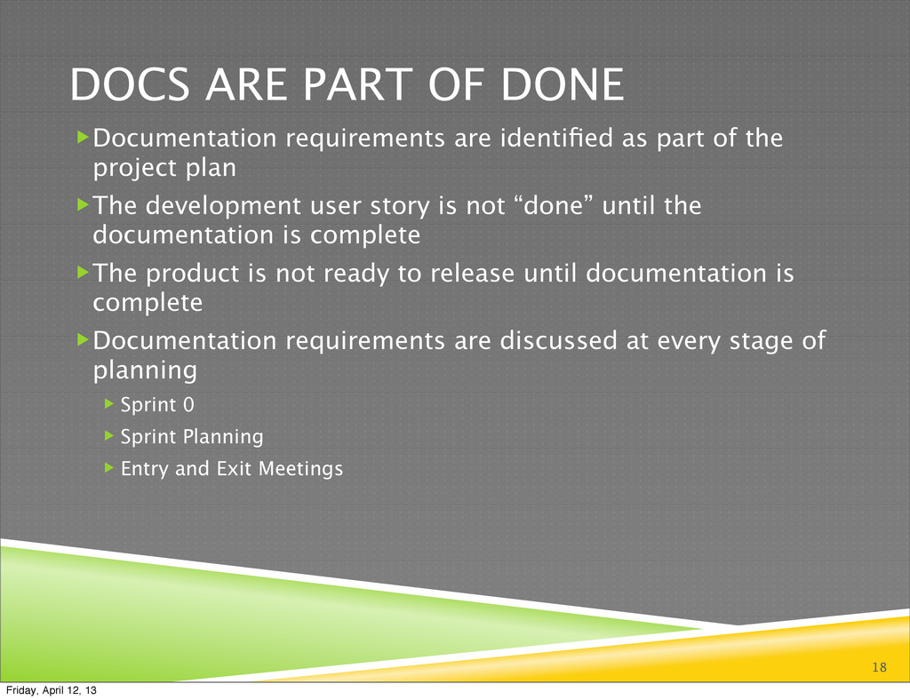 DOCS ARE PART OF DONE Documentation requiremen...