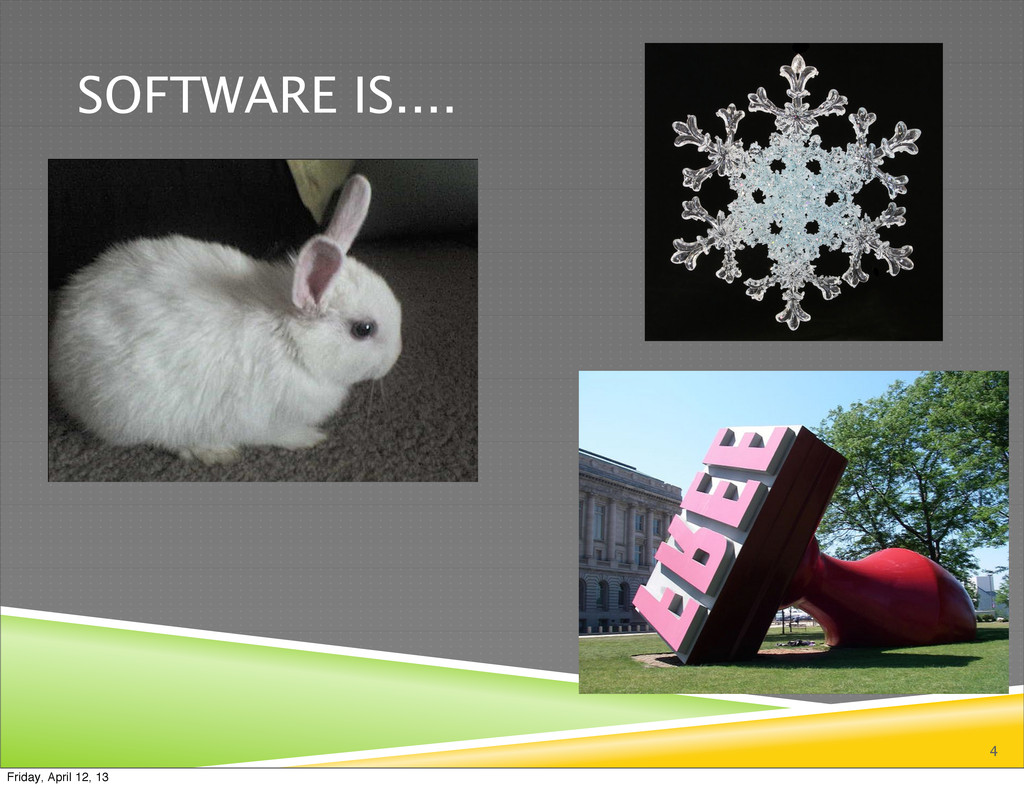 SOFTWARE IS.... 4 Friday, April 12, 13