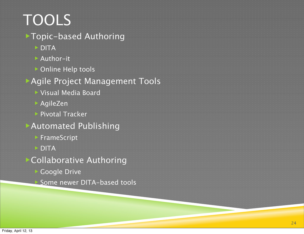 24 TOOLS Topic-based Authoring  DITA  Author...