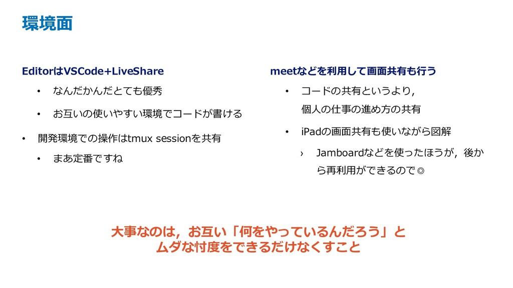 EditorはVSCode+LiveShare • なんだかんだとても優秀 • お互いの使いや...