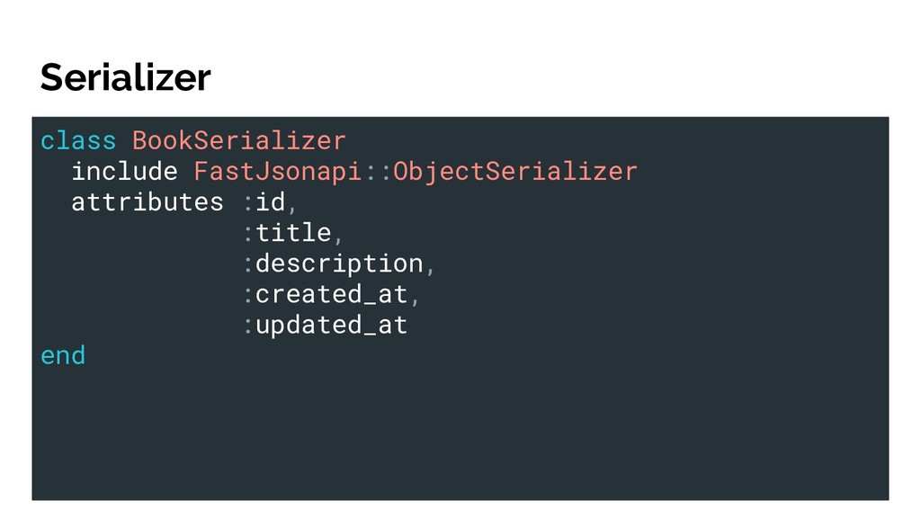 Serializer class BookSerializer include FastJso...