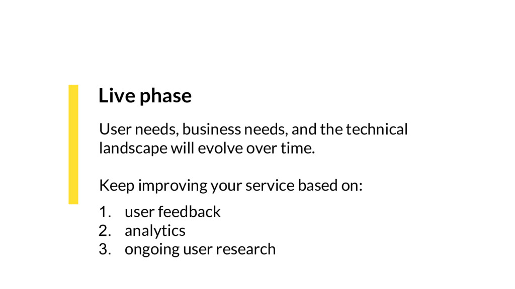 Live phase User needs, business needs, and the ...