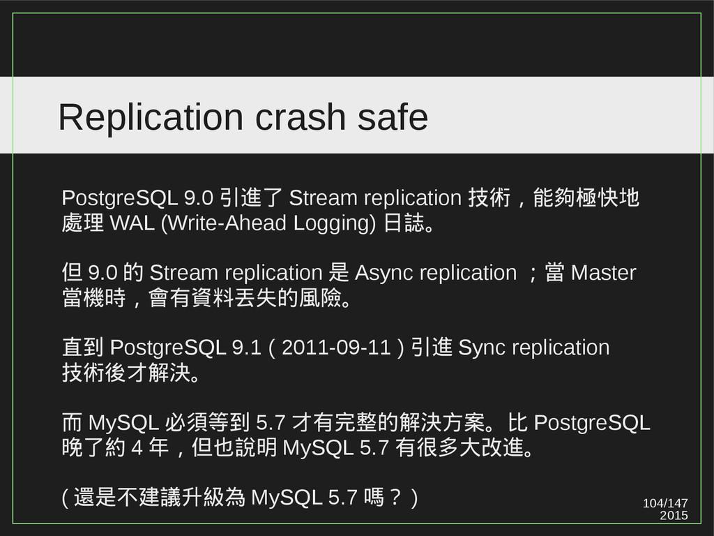 104/147 2015 Replication crash safe PostgreSQL ...