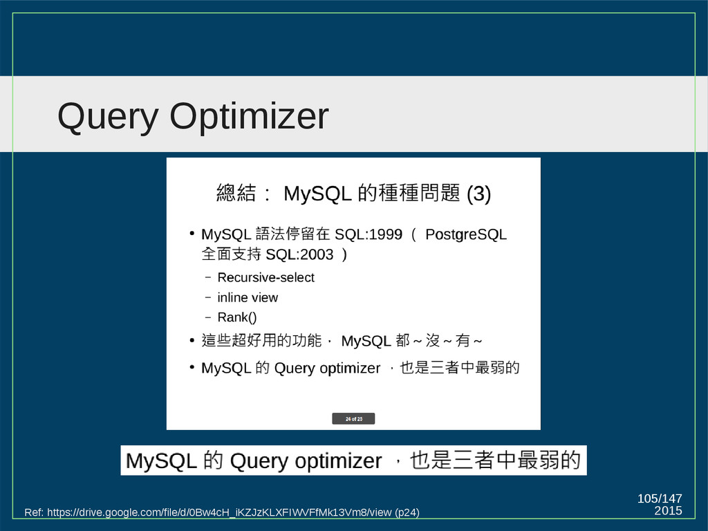 2015 105/147 Query Optimizer Ref: https://drive...